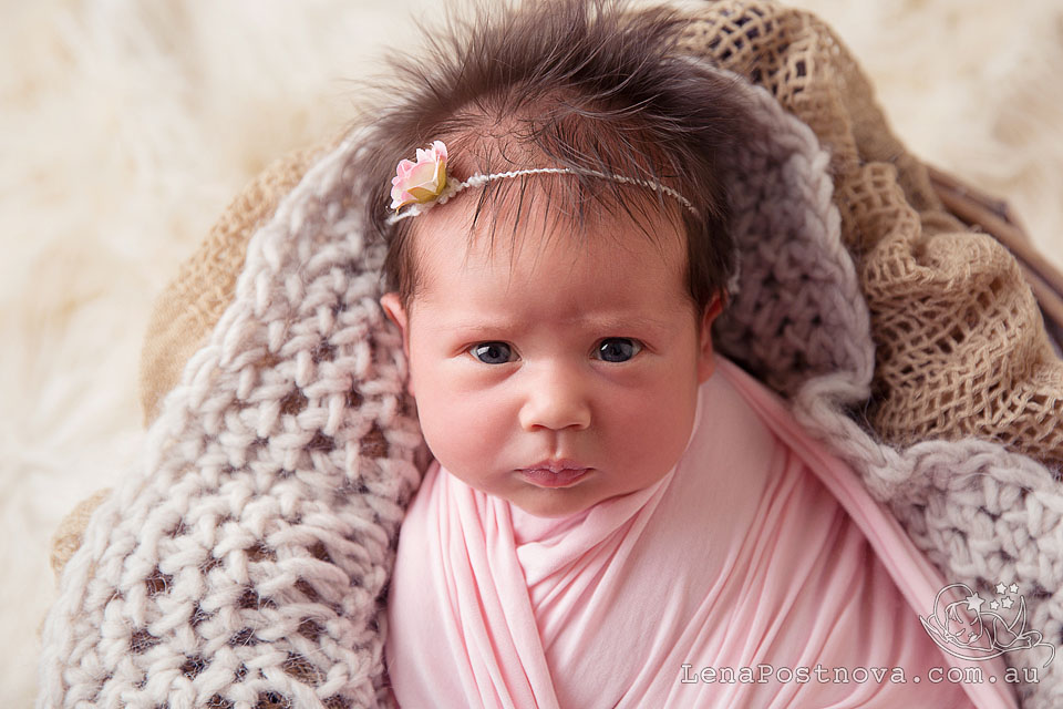 Newborn Session Sydney - Baby photographer Lena Postnova. Cute beautiful newborn baby girl professional portrait