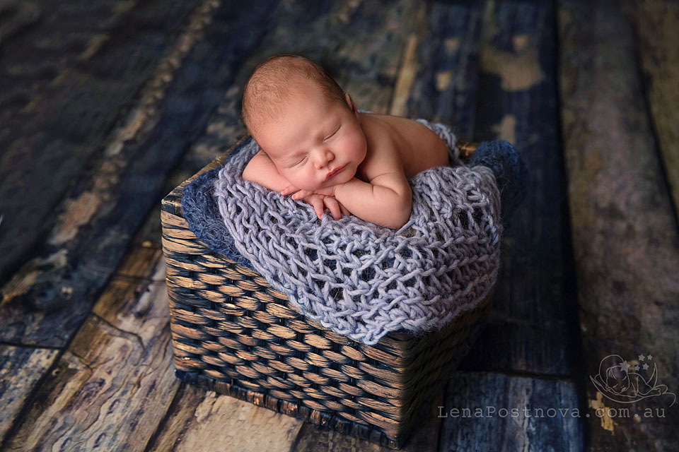 Sydney Baby Photographer -newborn photography - posed newborn- tummy- cute-baby- sleeping-close-up portrait-prop-little-handsome-adorable-parenting