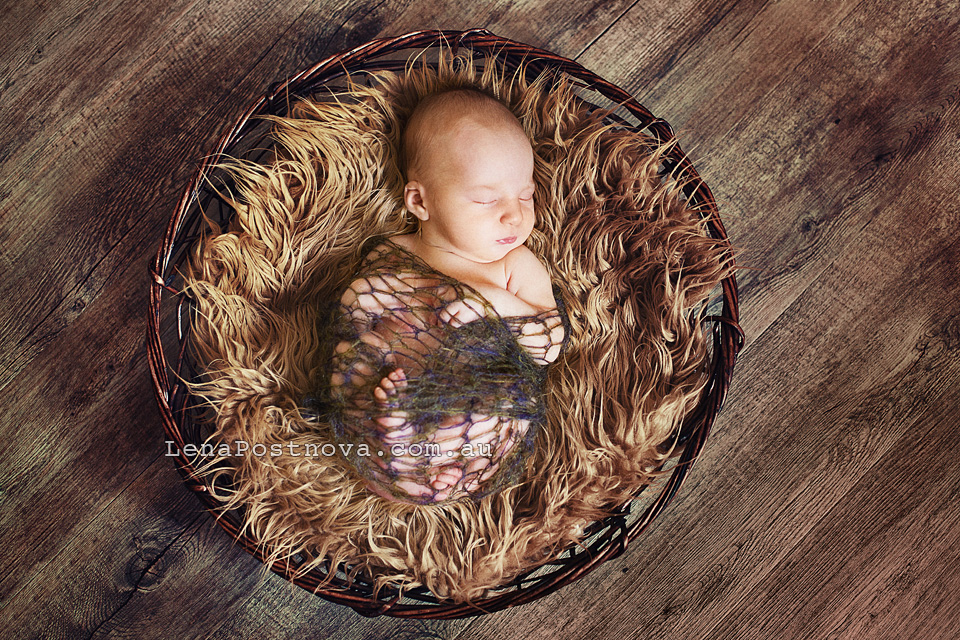 Sydney Newborn Photography, cute newborn baby posed in the basket, photo of 9 days old newborn baby boy, Newborn photography sessions in Sydney
