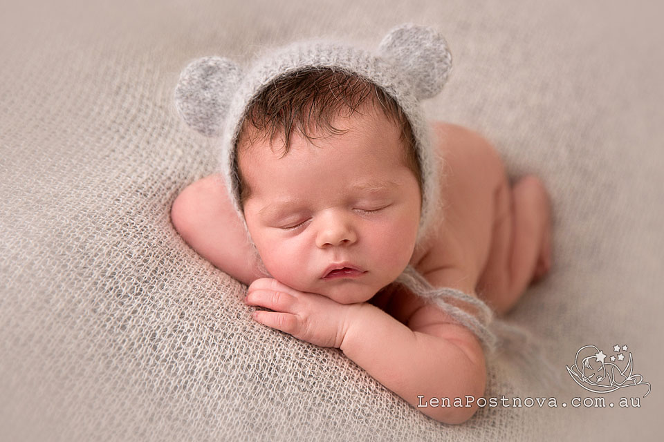 Baby Photographer Sydney - newborn photography Sydney North Shore cute baby boy wearing angora hat